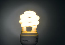 Warm Color Low Wattage Self Ballasted Fluorescent Light Bulb. A Warm Color Low Wattage Self Ballasted Fluorescent Light Bulb stock image