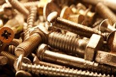 Warm color metal screws close up Stock Image