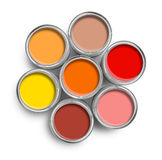 Warm color paint tin cans top Stock Images