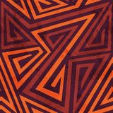 Warm color tribal seamless pattern with grunge effect Royalty Free Stock Image