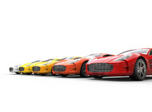 Warm colored cars on white background Royalty Free Stock Image
