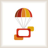 Warm colored flying parachute with frame. Stock Image
