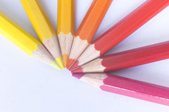 Warm colored pencils Royalty Free Stock Image