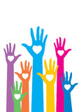 Warm colorful caring up hands hearts Stock Photos