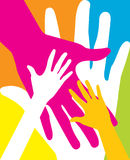 Warm colorful caring up hands vector design Stock Images