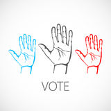 Warm colorful up hands logo, vector illustration vote Stock Photo