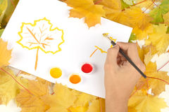 Warm colors of autumn. And leaves stock illustration