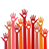 Warm colors colorful caring up hands hearts vector logo.  Stock Photography