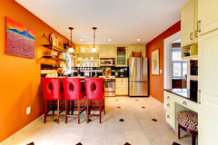 Warm colors cozy kitchen room Stock Photos