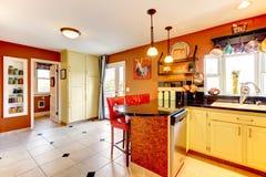 Warm colors cozy kitchen room Stock Photos