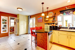 Warm colors cozy kitchen room Stock Photo