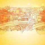 Warm colors linear drawing city background Stock Photo