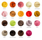 Warm colors merino wool palette guide with titles Stock Photography