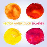 Warm colors, yellow, orange, red, pink  watercolor Stock Photos
