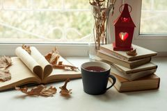 Cozy home still life: candlestick and books on windowsill against landscape outside. Autumn holidays, reading time concept. Warm and comfy winter or autumn stock images
