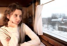 In warm compartment of train Stock Photo