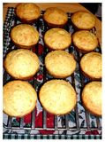 Warm corn muffins. Warm crispy corn muffins right out of the oven stock image