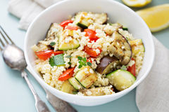 Warm couscous salad with grilled vegetables Royalty Free Stock Photography