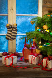 Warm and cozy Christmas holidays in a frosty evening Stock Image