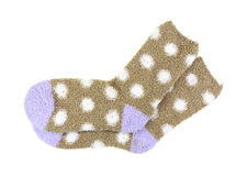 Warm Cozy Polka Dot Socks On White Stock Photos