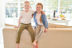 Cute Ginger Kids at Home royalty free stock image