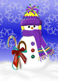 Warm and Cozy Snowman Stock Images