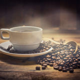 Warm cup of coffee smell Royalty Free Stock Photo
