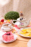 Warm cup of tea and sweets Stock Photo
