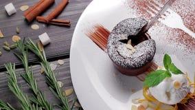 Warm cut chocolate dessert. stock video