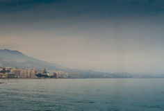 Warm Day At The Beach. The heat produced haze over the Mediterranean Sea at Fuengirola, Spain royalty free stock image