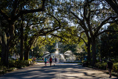 A Warm day at Forsyth Park in Savannah, Georgia Shaded by Magnolia Trees stock image