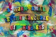 Warm de vriendelijkheidsletterzetsel van de glimlachtaal Stock Afbeeldingen