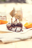 Warm dessert chocolate cake Stock Image