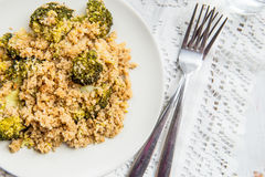 Warm Detox Salad from Quinoa. And Broccolli Royalty Free Stock Photo