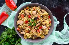 Warm dietary salad from baked vegetables zucchini, sweet pepper, eggplant, onion, chicken and couscous. Tabbouleh - Eastern snack Stock Image
