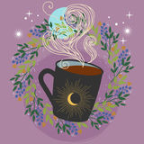 Warm drink. Cup of coffee or tea. Cute vector hand drawn illustration Royalty Free Stock Images