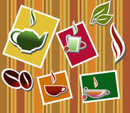 Warm drinks. Collection of warm drinks, coffee and tea, on stripe background Stock Image