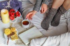 Warm en comfortabel, het meisje in de sweater Stock Foto