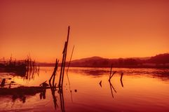 Warm evening. Sunset on the banks of the river Nile, Egypt Royalty Free Stock Photo