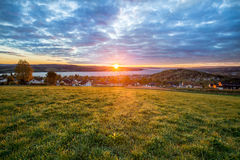 Warm fall Sunrise of cloudy sky. In Norway A lovely sunrise picture taken with the view of the Norwegian city called Gjovik Royalty Free Stock Image