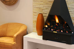 Warm Fireplace Stock Images