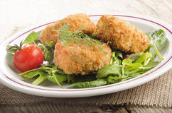 Warm fish cake with tomato on green salad Stock Photography
