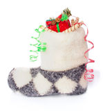 Warm Fleece Boot with Santa Claus Presents Royalty Free Stock Photos