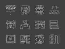 Warm floor system white line icons set Royalty Free Stock Image