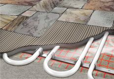 Warm floor Vs Tile royalty free illustration