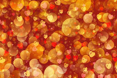 Warm flying bubbles and hearts in Chaotic Arrangement Stock Images