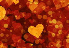 Warm flying bubbles and hearts in Chaotic Arrangement Stock Image