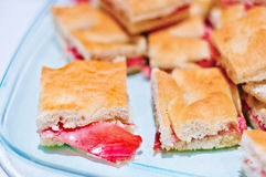 Warm focaccia with parma ham and mayonnaise. Spare warm focaccia stuffed with parma ham and mayonnaise flavored with herbs Royalty Free Stock Photo