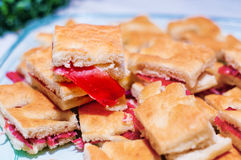 Warm focaccia with parma ham and mayonnaise. Spare warm focaccia stuffed with parma ham and mayonnaise flavored with herbs Stock Photos