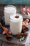 Warm frothy milk with spices. Warm frothy milk with syrup and winter spices Stock Photos